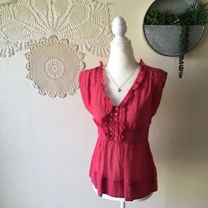 Odille red ruffle front button detail silk blouse